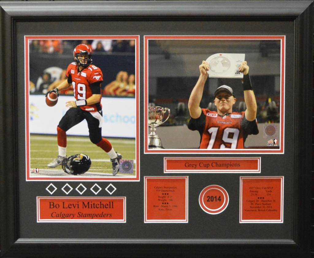 BO LEVI MITCHELL 2014 GREY CUP 16X20 FRAME