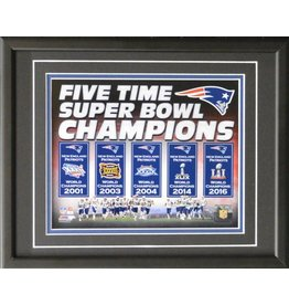 NEW ENGLAND PATRIOTS 5 TIME SUPER BOWL CHAMPIONS 11X14 FRAME