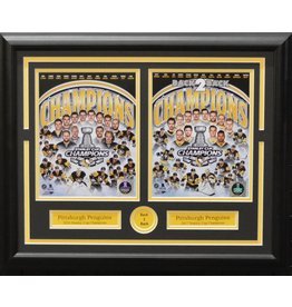 PITTSBURGH PENGUINS B2B STANLEY CUP CHAMPIONS - BACK 2 BACK 16X20 FRAME