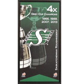 SASKATCHEWAN ROUGHRIDERS GREY CUP BANNER 14X28 FRAMED CANVAS