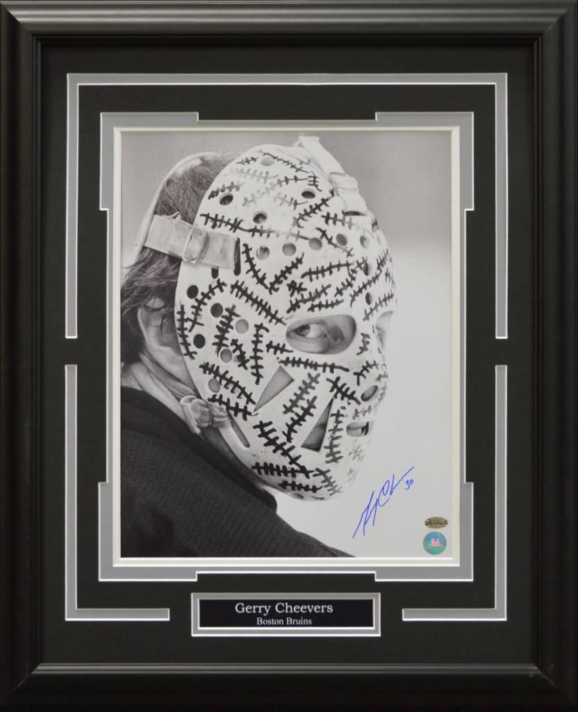 gerry cheevers autograph 16x20 frame boston bruins ajw sportscards
