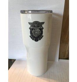 Stainless Steel white Powder Coated 30 oz Tumbler