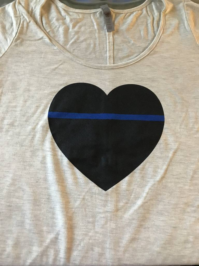 Women's Thin Blue Line Heart Tee