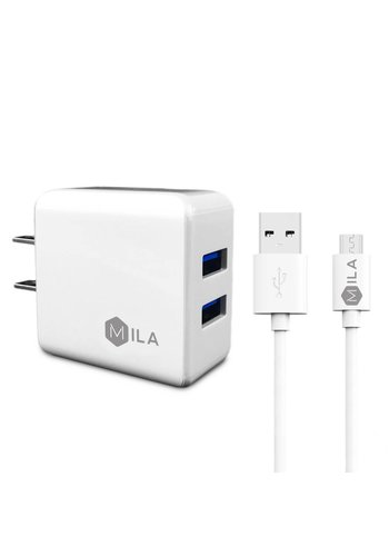 Mila 2.4A Dual USB Home Wall Charger with Micro USB Cable V9