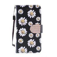 Design Leather Flip Wallet Credit Card For ZTE ZMAX Pro - White Daisy