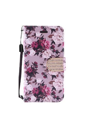 Design Leather Flip Wallet Credit Card Case For Galaxy ON5 - Pink White Rose