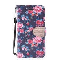 Design Leather Flip Wallet Credit Card Case For Galaxy ON5 - Tropical Flower