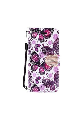 Design Leather Flip Wallet Credit Card Case For Galaxy ON5 - Violet Colorful Butterfly Bliss