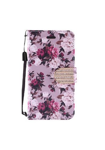 Design Leather Flip Wallet Credit Card For ZTE ZMAX Pro - Pink White Rose