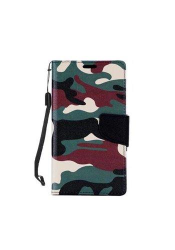 Design Leather Flip Wallet Credit Card For LG K10 - Army