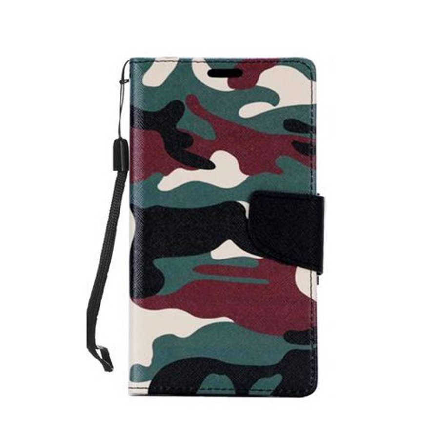 Design Leather Flip Wallet Credit Card For LG K10 - Army