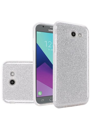 Hybrid Clear PC TPU Case with Glitter Paper For Galaxy J3 Emerge / Prime (2017)
