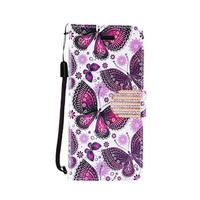 Design Leather Flip Wallet Credit Card For LG Stylo 3 (LS777) / Stylo 3 Plus - Violet Butterfly Bliss