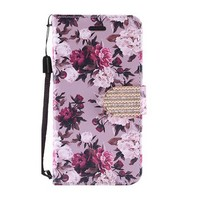 Design Leather Flip Wallet Credit Card For LG Stylo 3 (LS777) / Stylo 3 Plus - Pink White Rose