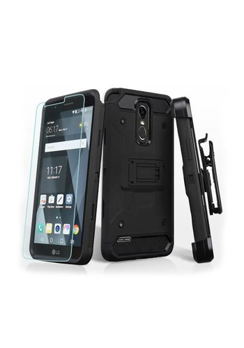 MYBAT Kinetic Hybrid Holster Clip Case Combo with (Twin Screen Protectors) for LG Stylo 3 (LS777) / Stylo 3 Plus