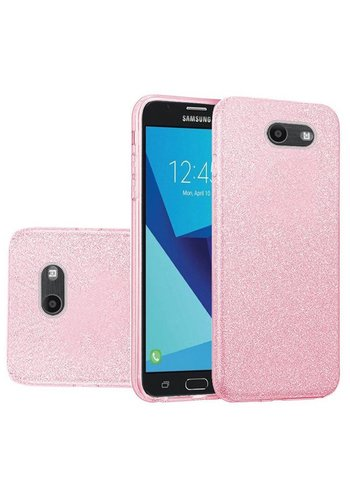 Hybrid Clear PC TPU Case with Glitter Paper For Galaxy J7 Perx / Prime 2017