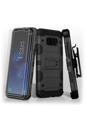 MYBAT Storm Tank Hybrid Holster Clip Case Combo with (Twin Screen Protectors) For Galaxy S8