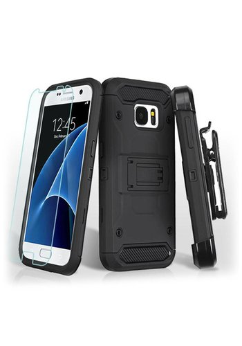 MYBAT Kinetic Hybrid Holster Clip Case Combo with (Twin Screen Protectors) For Galaxy S7