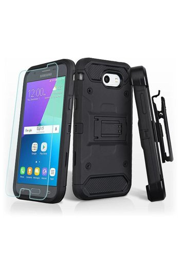 MYBAT Kinetic Hybrid Holster Clip Case Combo with (Twin Screen Protectors) for Galaxy J3 Emerge / Prime (2017)