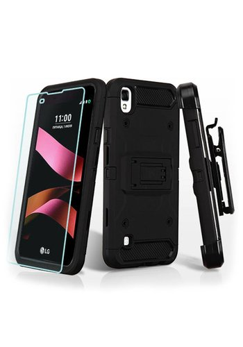 MYBAT Kinetic Hybrid Holster Clip Case Combo with (Twin Screen Protectors) for LG TRIBUTE HD LS676
