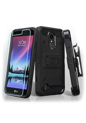 MYBAT Kinetic Hybrid Holster Clip Case Combo with (Twin Screen Protectors) for LG V5 / K20