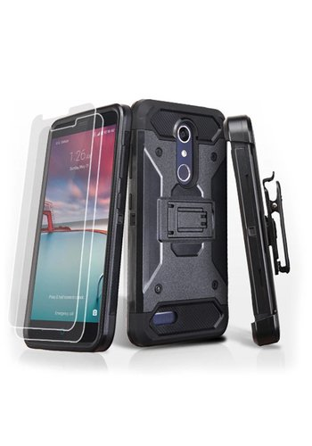 MYBAT Kinetic Hybrid Holster Clip Case Combo with (Twin Screen Protectors) for ZTE ZMAX PRO