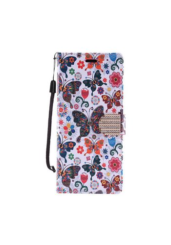 Design Leather Flip Wallet Credit Card Case For HTC 530 - Colorful Butterfly Bliss