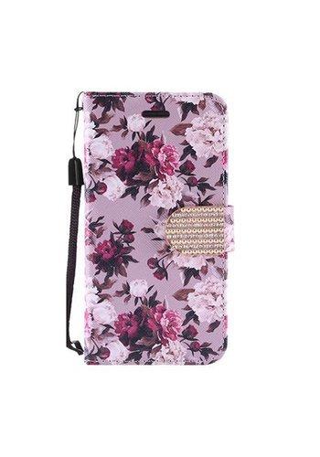 Design Leather Flip Wallet Credit Card Case For HTC 530 - Pink White Roses