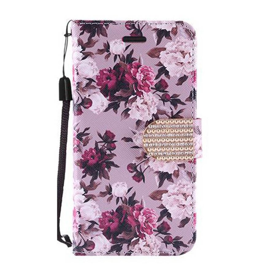 Design Leather Flip Wallet Credit Card Case For HTC 530 - Pink White Roses
