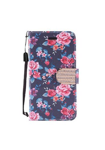 Design Leather Flip Wallet Credit Card Case For HTC 530 - Tropical Flower