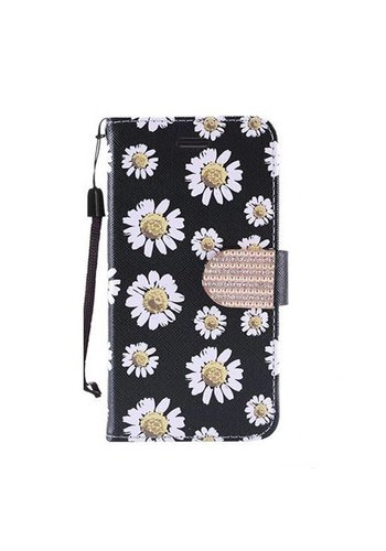 Design Leather Flip Wallet Credit Card Case For HTC 530 - White Daisy