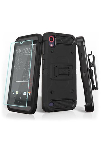 MYBAT Kinetic Hybrid Holster Clip Case Combo with (Twin Screen Protectors) for HTC 530 Black