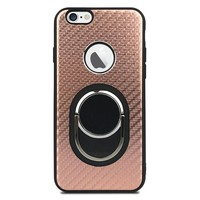 Fashion Case Best TPU Metallic Carbon Fiber with Ring for iPhone 6 Plus