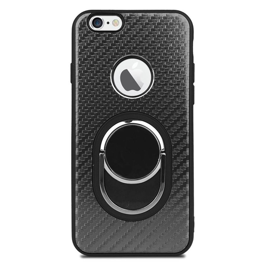 Fashion Case Best TPU Metallic Carbon Fiber with Ring for iPhone 6/6S