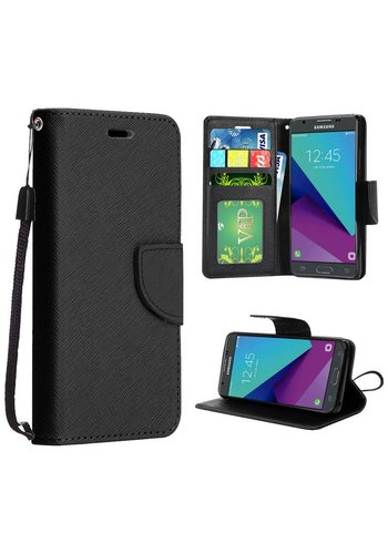 Hybrid PU Leather Flip Cover Case Wallet with Credit Card Slots for Galaxy J3 Emerge / Prime (2017)