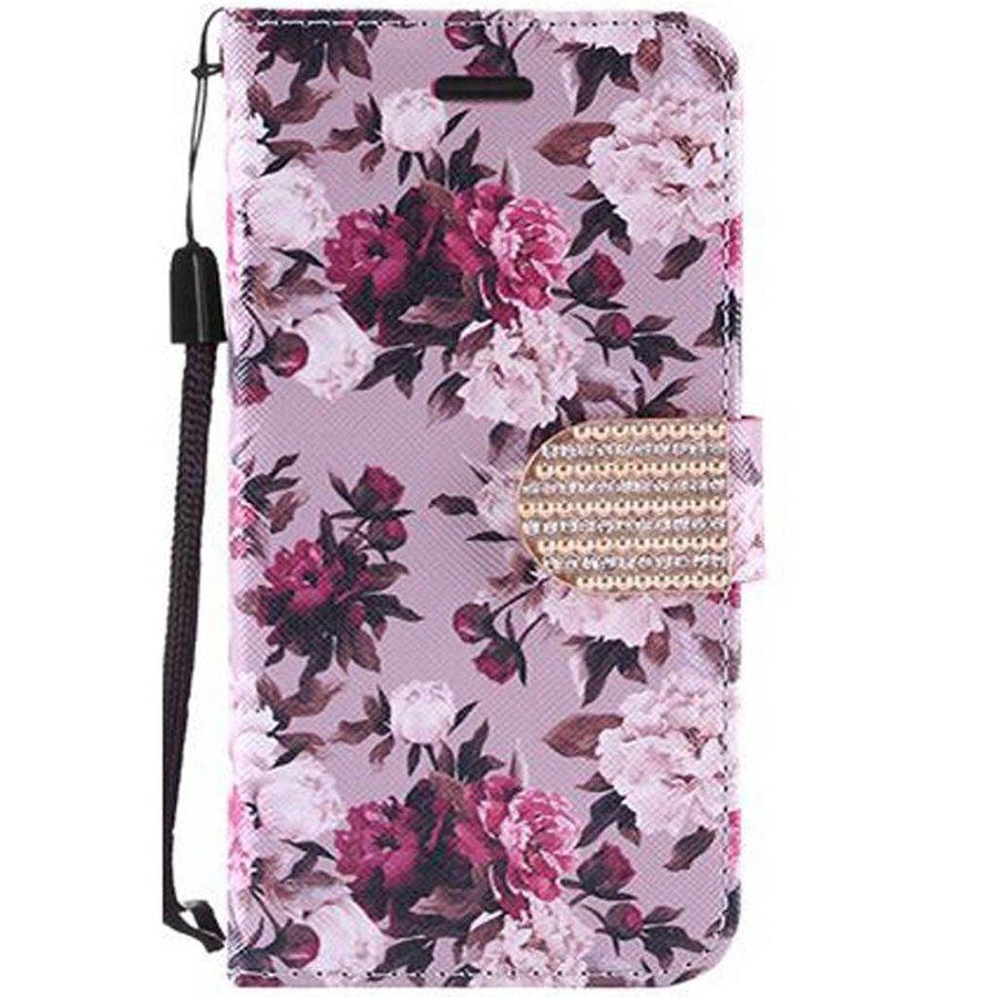 Design Leather Flip Wallet Credit Card For Galaxy J3 Emerge / Prime (2017) - Pink White Rose