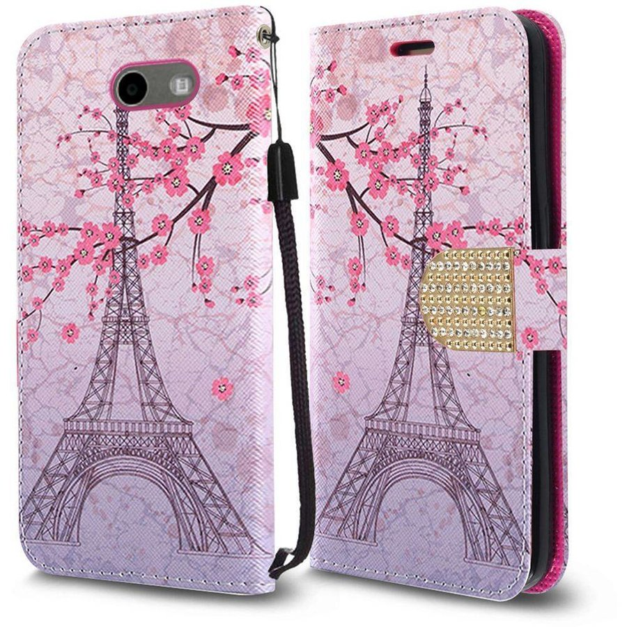 Design Leather Flip Wallet Credit Card For Galaxy J3 Emerge / Prime (2017) - Vintage Eiffel Tower