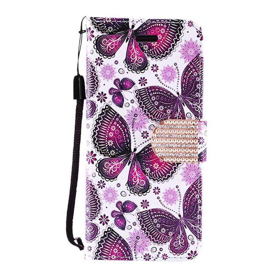 Design Leather Flip Wallet Credit Card For Galaxy J3 Emerge / Prime (2017) - Violet Butterfly Bliss