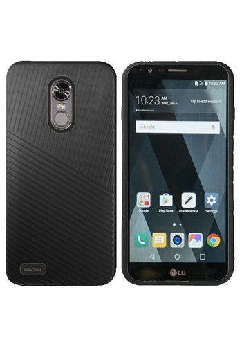 Textured Embossed Lines Hard Plastic PC TPU Case For LG Stylo 3 (LS777) / Stylo 3 Plus