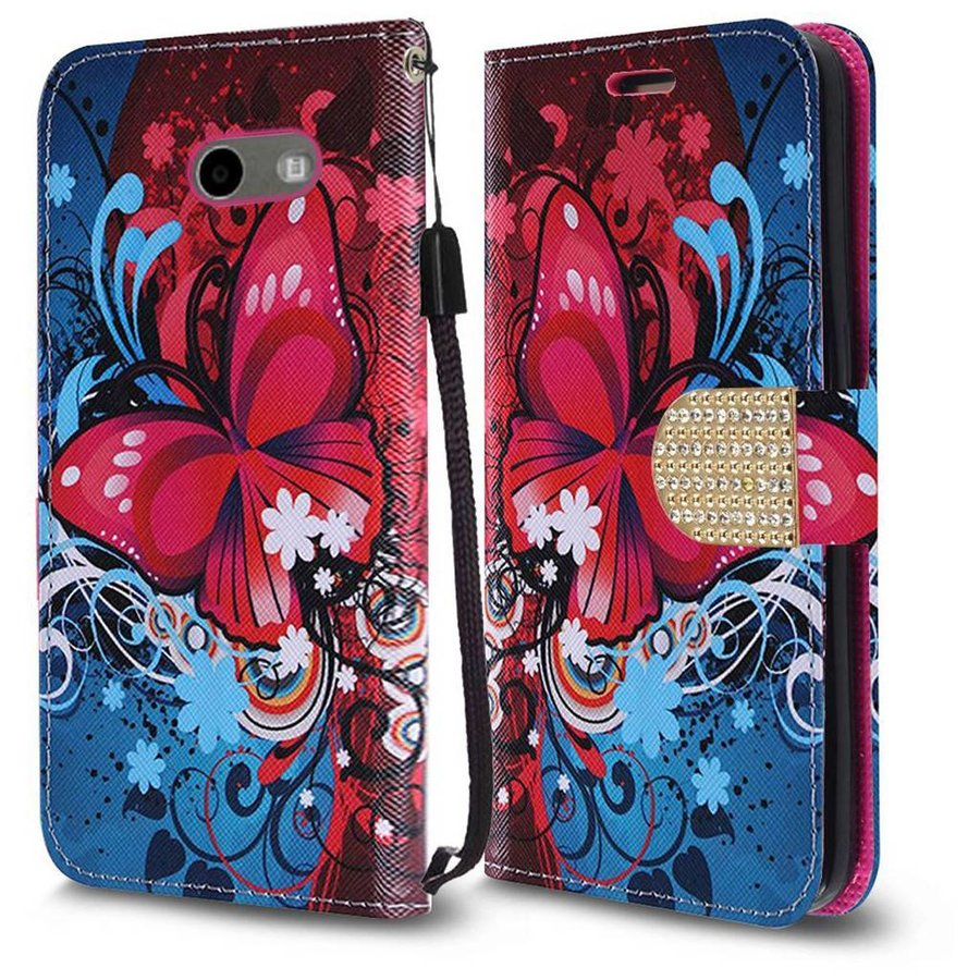 Design Leather Flip Wallet Credit Card For Galaxy J3 Emerge / Prime (2017) - Blue/Red Butterfly Bliss