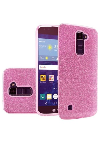 Hybrid Clear PC TPU Case with Glitter Paper For LG K10