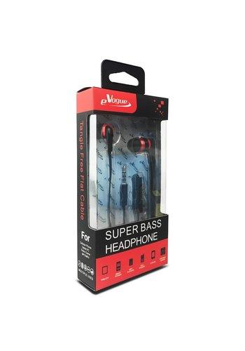 eVogue Super Bass Flat Cable Earphones HF037ST