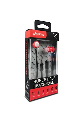eVogue Super Bass Flat Cable Earphones HF001ST