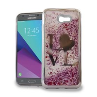 Chrome Glitter Motion Case for Galaxy J3 Emerge / Prime (2017) Love Silver/Pink