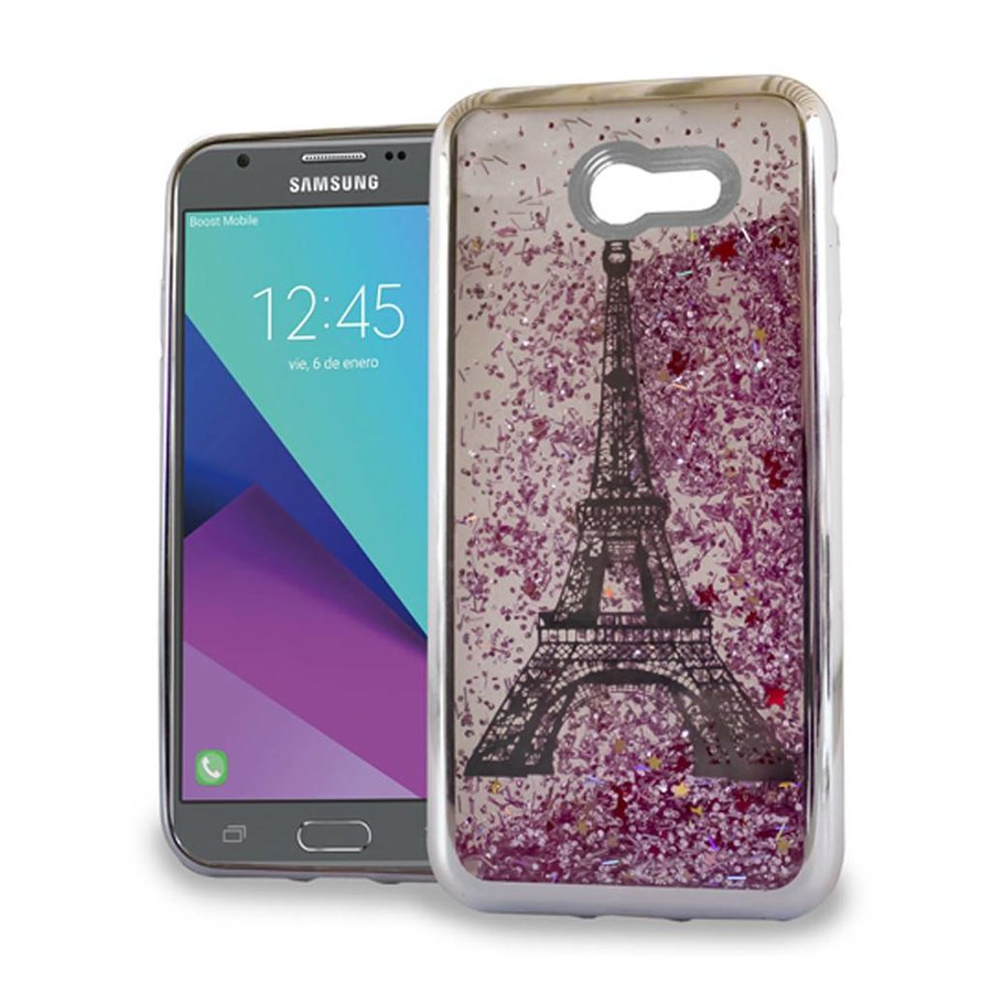 Chrome Glitter Motion Paris Tower Case for Galaxy J3 Emerge / Prime (2017)