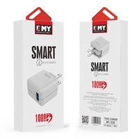 EMY Home Wall Smart Travel Charger Adapter with Lightning Cable (MY239) - 1,000ma