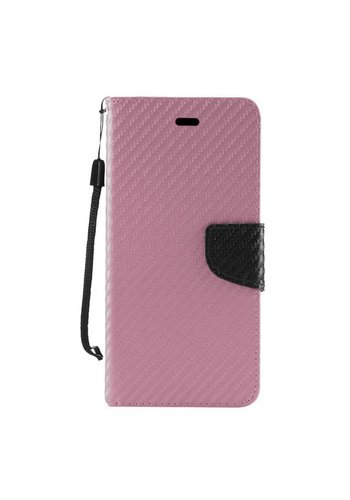 Leather Wallet Case with Carbon Fiber Texture for Galaxy J7 Perx / Prime 2017
