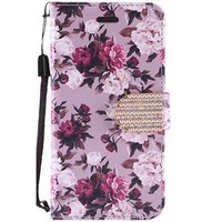 Design Leather Flip Wallet Credit Card Case For Galaxy J7 Perx / Prime 2017 - Pink White Rose