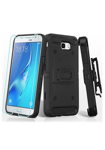 MYBAT Kinetic Hybrid Holster Clip Case Combo with (Twin Screen Protectors) for Galaxy J7 Perx / Prime 2017