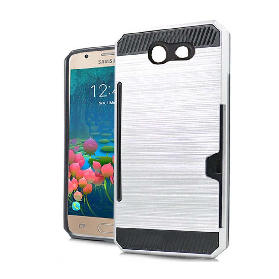 Armor Brushed Case With Card Slot For Galaxy J7 Perx / Prime 2017
